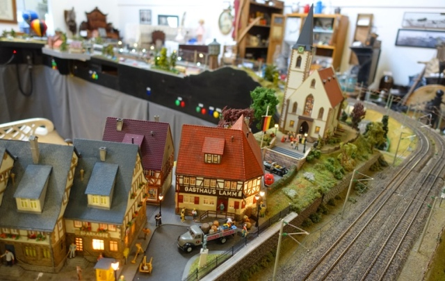 German town, model, church, model trains, ho gauge