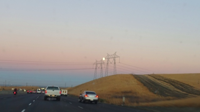 Moon and Power Towers, Sunset, Golden Hills, Almost Full Moon