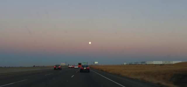 Moon at Dusk, Commute Home, Almost Full Moon