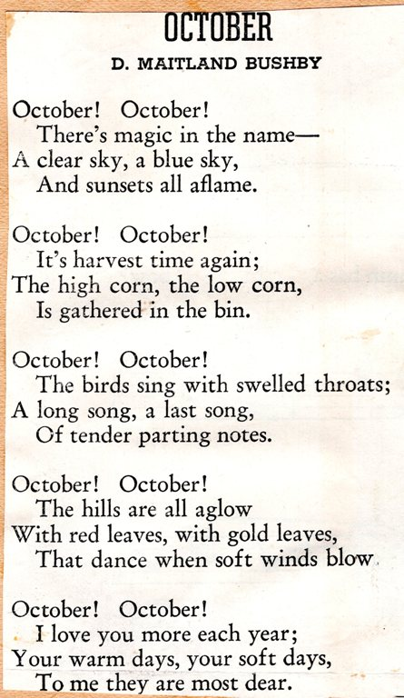 October Poem, Maitland Bushby