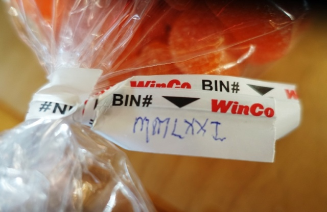 Roman Numerals, Bin Number, WinCo, Orange Slices