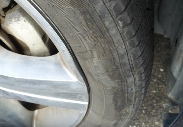 Car tire, wheel, bent wheel rim, Tire Trouble, Pot Hole