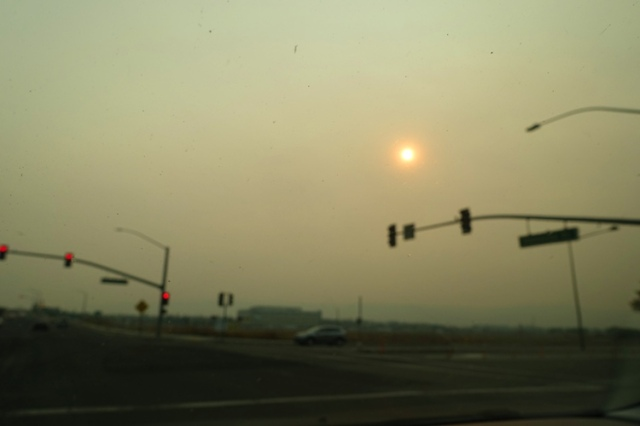 smoky sky, out of focus, bad air quality