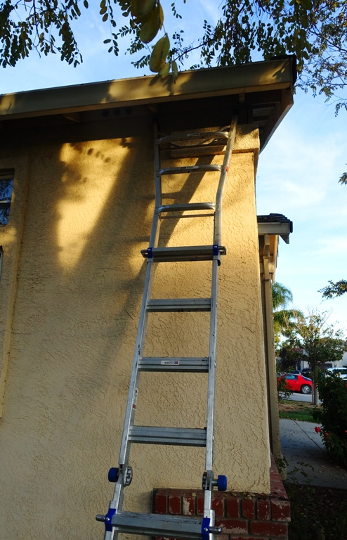 Ladder, cleaning gutters, fall house work