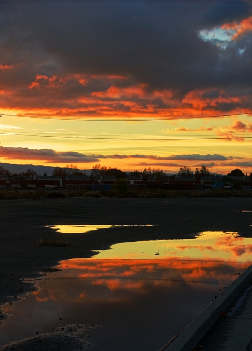 Sunset Reflection, Central Valley, Red Sky, Sunset