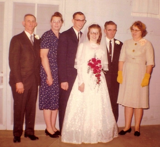 All four grandparents, parents wedding, Frytown Iowa