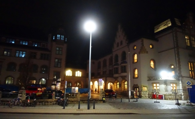 Jena Germany, Volkshaus, Zeiss, December Night