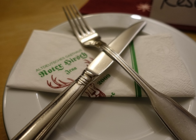 knife and fork, Roter Hirsch, Restaurant