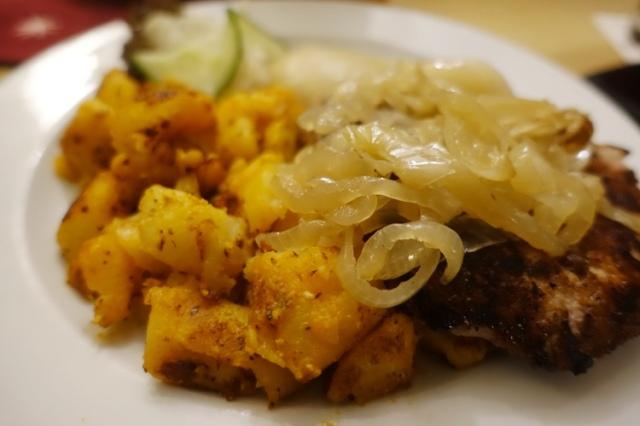 Thuringer Rostbratchen, German Food, Pork Steak, Potatoes, Roter Hirsch