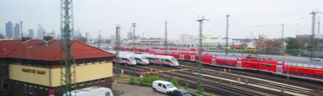 Frankfurt train yard, trains, train travel