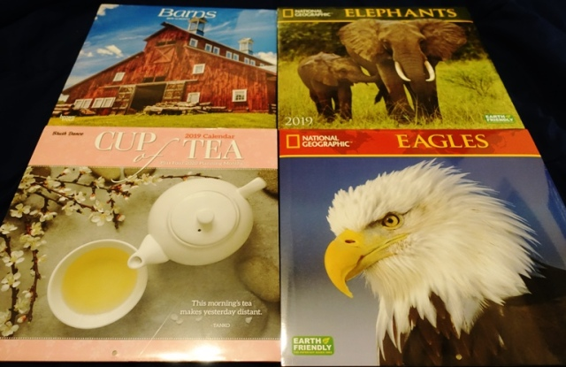 Cup of Tea, Barns, Eagles, National Geographic Calendar, Elephants