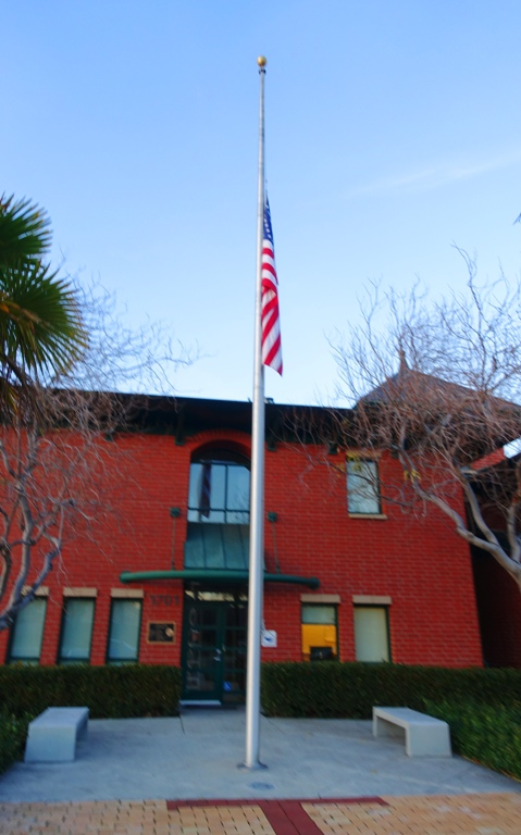 Fire Station, Flag at half mast, Bush, Tracy California