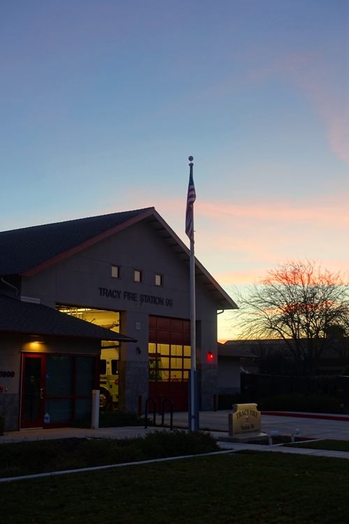 Fire Station, Flag, Tracy, California, Sunset