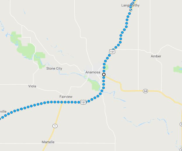 Virtual Hike Route, Iowa, Winter Walking from far away, Anamosa Iowa