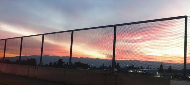 Californa sunet, winter sunset, red sky
