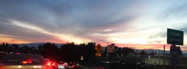 metering lights, on ramp sunset
