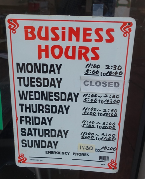 Business Hours, Korean Restaurant