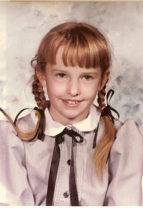 Little sister, school picture, pigtails