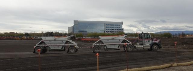 Rock truck, construction, parking lot subsurface