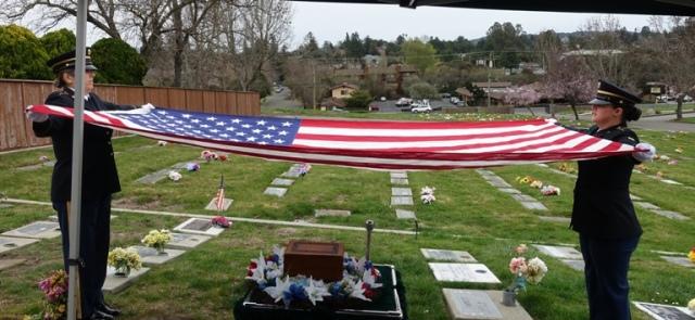 Folding of flag, presentation of flag, honoring those who served