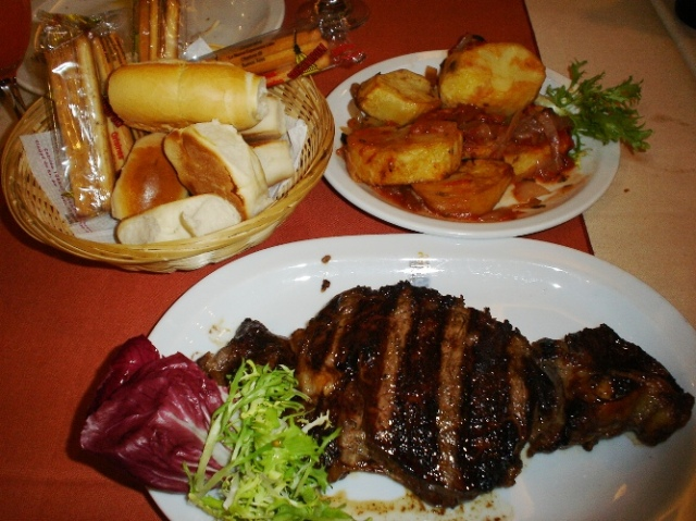 Steak and sides, argentina, beef, potatoes