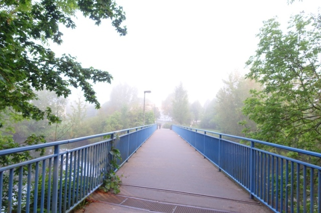bridge, fog, saale river, jena germany