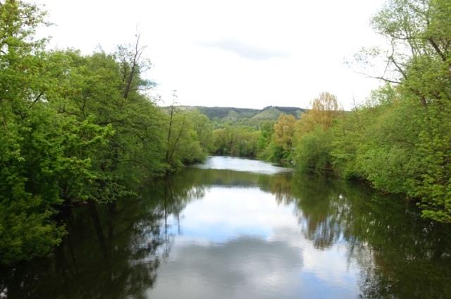germany river, reflections, clouds, jena germany