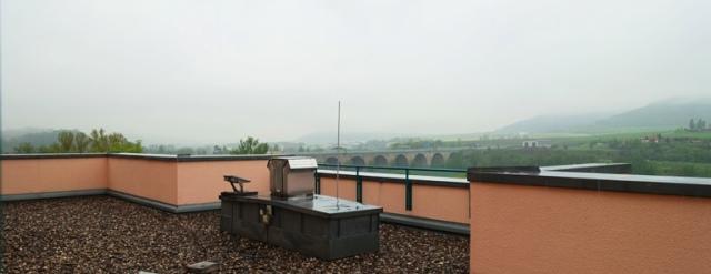 rainy morning, jena, germany, hotel view, hills of germany, bridge