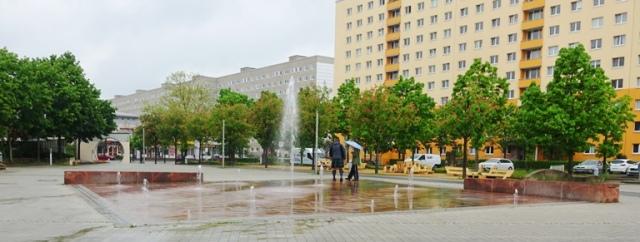 Lobeda, Jena Germany, plaza, water feature