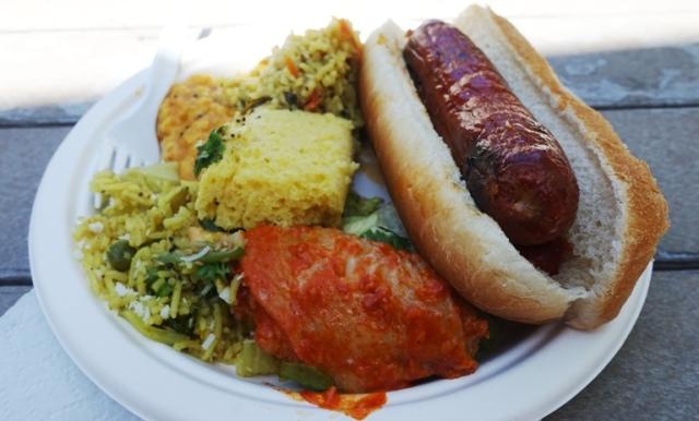hot dog, rice, chicken, cornbread