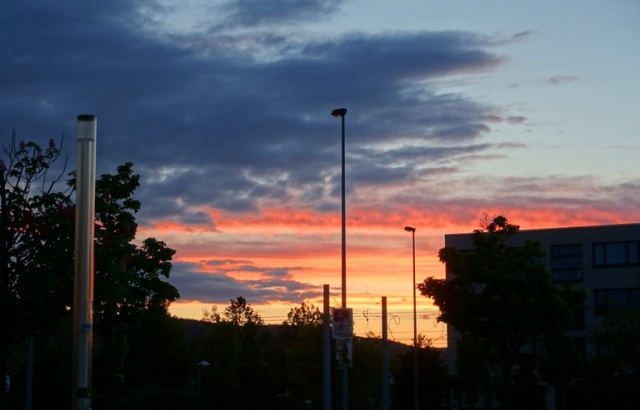 sunset, jena germany, lobeda west, sunset