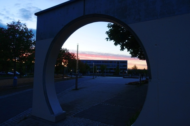 sunset, lobeda west, jena germany, circle plaza