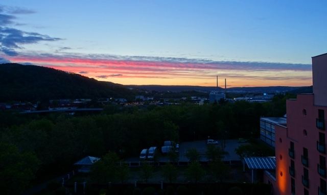 sunset, jena germany, hotel view