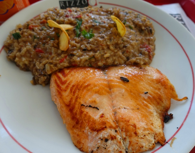 Salmon, risotto, lunch, brazil, food