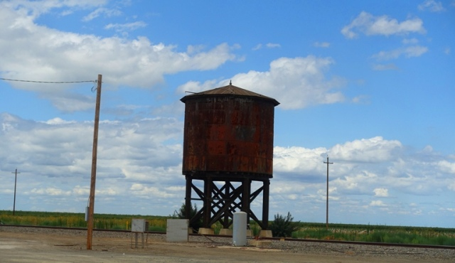 Cloudy sky, Westley, California, Water tank