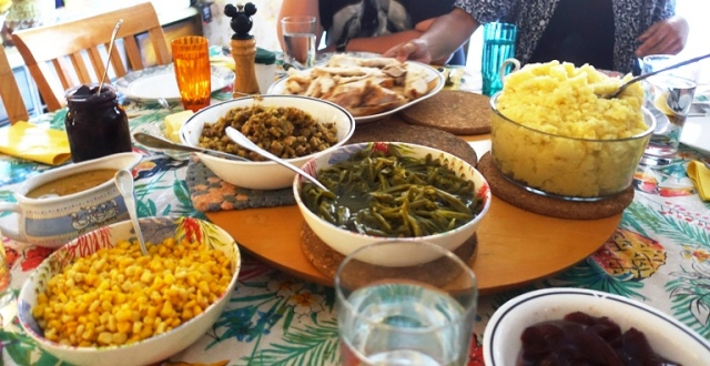 holiday feast, labor day, beans, corn, potatoes, turkey