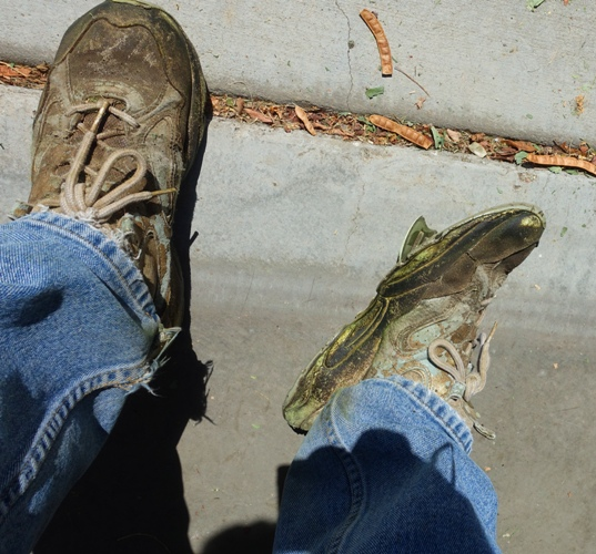 yard work shoes, mowing shoes, worn out shoes, dirty shoes