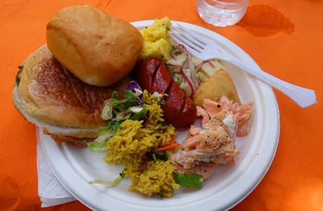 sausage, salmon, bread, Indian food, Oktoberfest, park