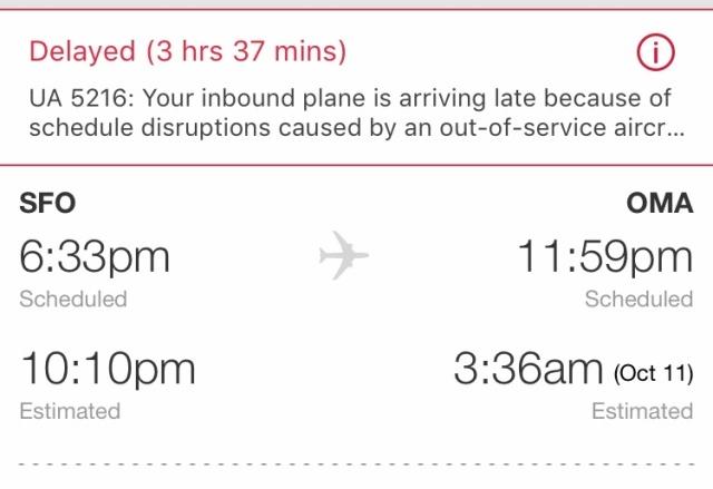 late flight, SFO, OMA, delays