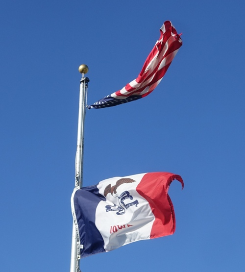 iowa flag, US Flag, flags, windy, Iowa