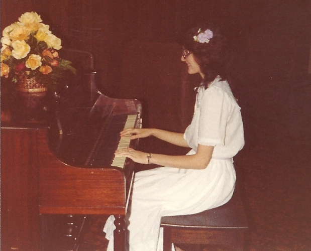 White dress, piano, piano memories, piano recital