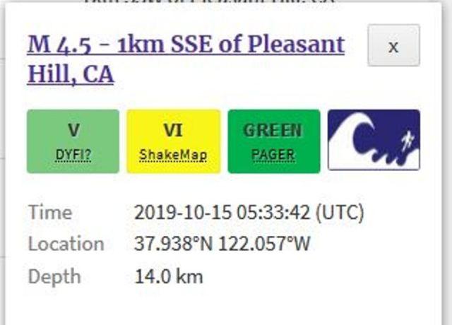 Pleasant Hill quake, California, earthquake