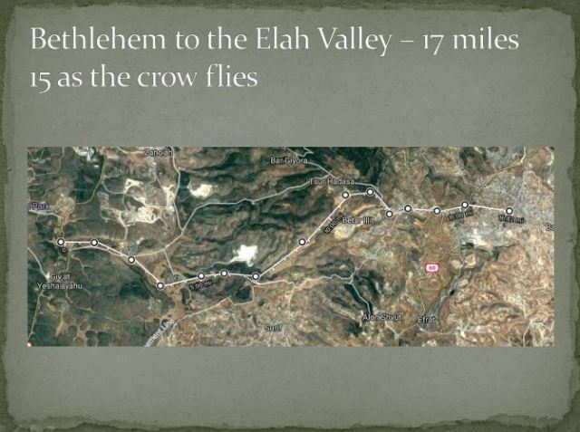 David's journey to Elah Valley, David and Goliath, Bethlehem, maps