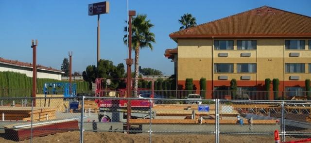 Manteca Chick-fil-A, Construction, progress, parking lot, foundation