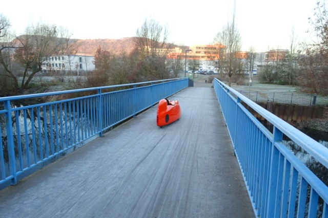 frost on bridge, small car, orange car, blue bridge, frosty morning, germany