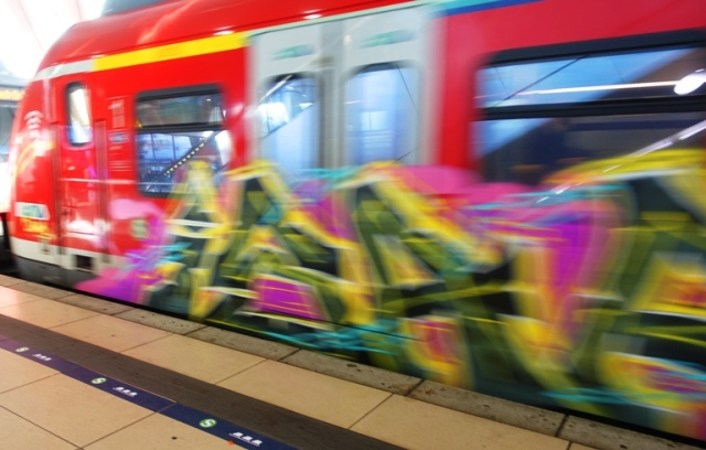 graffiti, train, germany, in motion