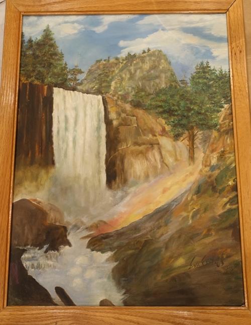 Vernall Falls, Yosemite, Ansel Adams, Eva Fry, Painting