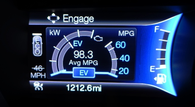 power gauge, ev, plug-in hybrid, 98.3 mpg