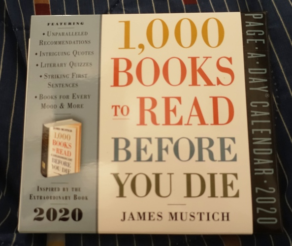 1,000 books to read before you die calendar, James Mustich