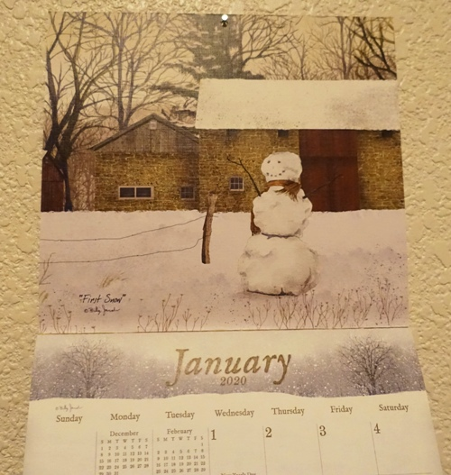 the road home, calendar, snow man, winter scene for january
